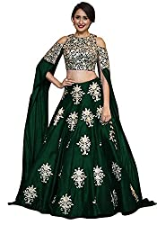 Fabron Green Embroidered Semi Stitched Lehenga choli