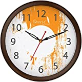 [Sponsored]Story@home 10-inchRound Shape Wall Clock With Glass For Home / Kitchen / Living Room / Bedroom (Brown Frame) - B078S33DJS