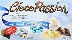 Idea Regalo - Crispo Confetti Cioco Passion Cioccolato al Latte con Cuore di Cioccolato Bianco - Colore Celeste - 3 confezioni da 1kg [3 kg]