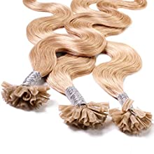 Hair2Heart 50 x 0.5g Extension Capelli Veri Cheratina - 60cm, colore #18 Biondo Chiaro Dorato, ondulato