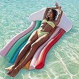 Hamkaw Rainbow Flotadores de Piscina para Adultos, Tumbona Flotante Inflable Gigante Flotante para Montar en Barco, Piscina al Aire Libre, Playa, Lago, Flotador Inflable Grande para Piscina