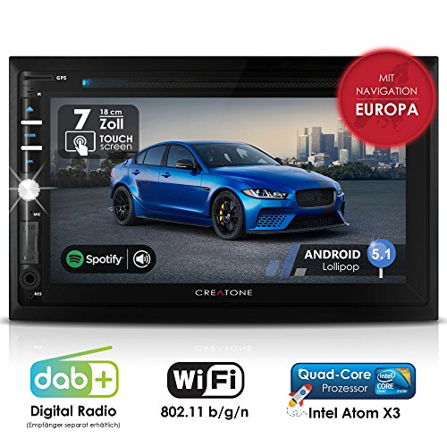 Autoradio Android CREATONE AMG-3030 | 2DIN Naviceiver | GPS Navigation (aktuelle Europa-Karten mit Radarwarnungen) | DAB+ DigitalRadio | DVD-Player | Touchscreen 7 Zoll (18cm) | USB bis 4TB l Quad-Core 64-Bit CPU Intel Atom x3 4x1,2GHz | 16GB integriert | Full HD 1920x1080 Video Unterstützung | WLAN | Bluetooth mit iOS und Android | MirrorLink | OBD 2 | RDS