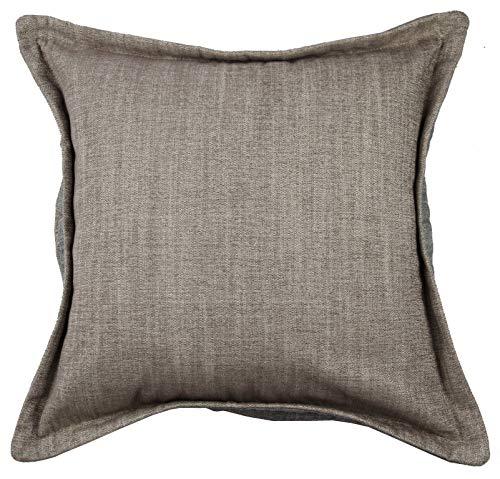 McAlister Textiles Rhumba Zierkissen mit Kontrastumrandung inkl. Füllung   50cm x 50cm in Taupe Beige & Grau   Deko Kissen für Sofa, Sessel, Couch aus Leinenmischung