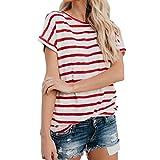 VEMOW Frauen Kurzarm Mode Tops Block Streifen T-Shirt Casual Bluse Damen Dreifach Farbe Oberteile (EU-42/CN-M, Rot)