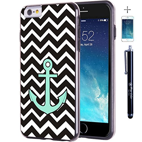 iPhone 6 6S Fall, Hülle, Case True Color® Blaugrün Anker auf Chevron Slim Hybrid Hard Back + weich TPU Bumper Schutz Langlebig [True Schützen Serie] + kostenlosem Stylus und Displayschutzfolie schwarz