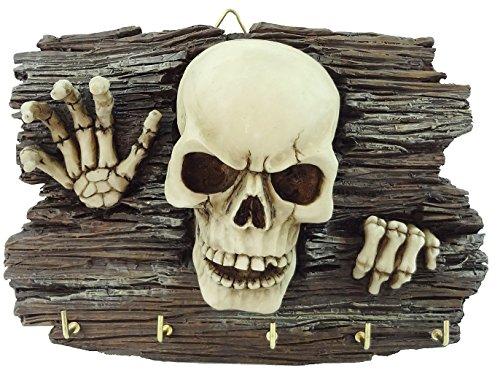 Schlüsselbrett Skelett kommt aus Mauer Figur Totenkopf Schädel