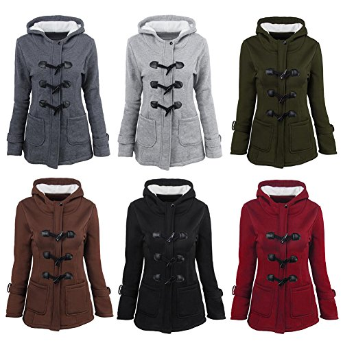 Haodasi Women Winter Plus Size Outdoor Warm Wool Blended Classic Horn Button Overcoat Hoodie Outerwear Trench Coat Jacket
