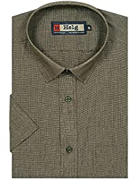 Helg Mens Formal Cotton Plain Solid Half Sleeves Comfort Fit Shirt
