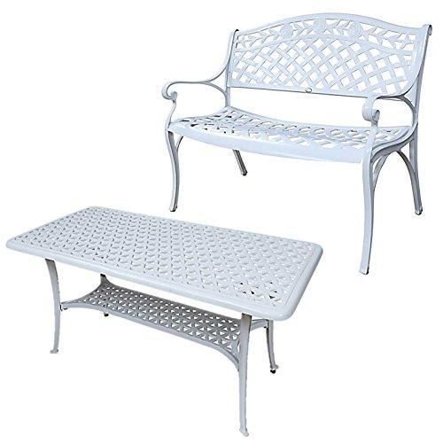 Lazy Susan - CLAIRE Rechteckiger Garten Beistelltisch mit 1 ROSE Gartenbank - Gartenmöbel Set aus Metall, Weiß