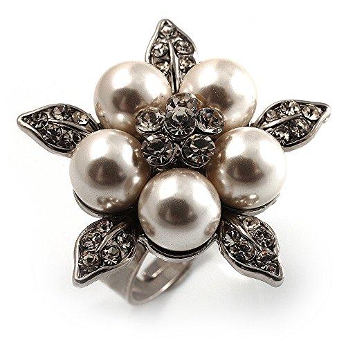 Bridal neve finta perla, anello a fiore con cristalli, (Wedding Pearl Tema)