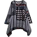 40%-60% Off!Ieason Womens Cotton And Linen Tops Ladies Printing Round Neck Long Sleeve Shirt Blouse