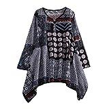 VEMOW Sommer Herbst Elegante Damen Plus Größe Dot Print Lose Baumwolle Casual Täglichen Party Strandurlaub Kurzarm Shirt Vintage Bluse Pulli(X8-Blau, EU-42/CN-XL)
