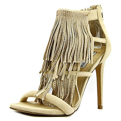 Sandalo Steve Madden Fringly tacco nero frange e strass Blush
