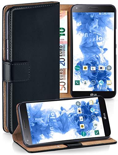 moex® Booklet mit Flip Funktion [360 Grad Voll-Schutz] für LG G Flex 2 | Geldfach und Kartenfach + Stand-Funktion und Magnet-Verschluss, Schwarz (Flex Cover 2 Lg)