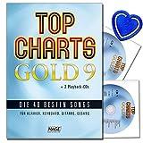 Top Charts Gold 9 mit 2CDs - 40 besten Songs für Klavier, Keyboard, Gitarre und Gesang - Hits und Balladen von Stars wie Avicii, OneRepublic, Helene Fischer, Cro, Robbie Williams und vielen mehr - mit herzförmiger Notenklammer