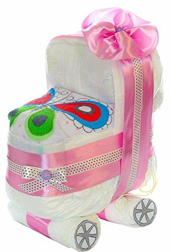 Preisvergleich Produktbild Windeltorte Kinderwagen rosa für Mädchen - Wunschlätzchen - Geschenk zur Geburt, Babyparty (Up in Sky)