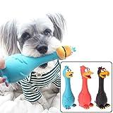 ECMQS 1 giocattolo per cani, gallina in gomma, in lattice, con suono
