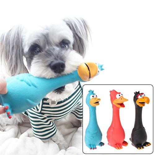 Latex-plüsch (ECMQS 1 stück Spielzeug Für Hunde, Schreien Gummi Huhn Spielzeug Für Hunde Latex Squeaker Chew Ausbildung Produkte (Schwarz))