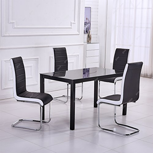 Large Glass Dining Table and 4 Chairs Set Black White Sides Faux Leather Padded Seaters Chrome Metal Frame Home/Office/Restaurant Furniture