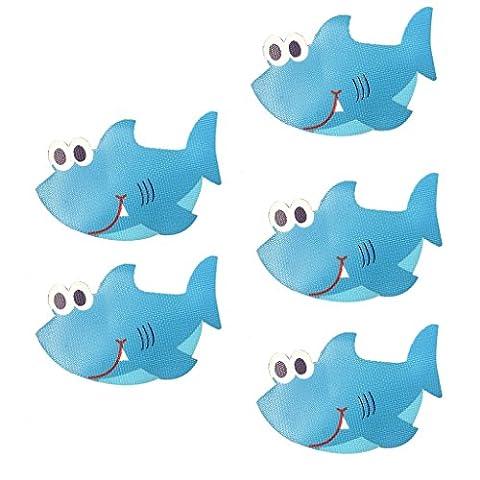 MagiDeal 5-teilige Anti-Rutsch Sticker Für Badewanne, Dusche und Bad, selbstklebend Antirutsch Aufkleber - Haifisch, 140x 90mm