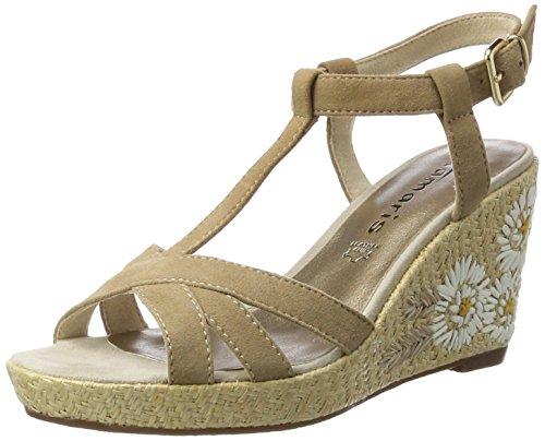 Tamaris Damen 28390 Offene Sandalen mit Keilabsatz Braun (ANTELOPE 375)