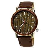 Hecha a mano de madera de Alemania-Reloj de hombre con certificado de madera natural Reloj Pulsera de piel de reloj analógico clásico reloj de cuarzo marrón oro Fecha Madera Esfera