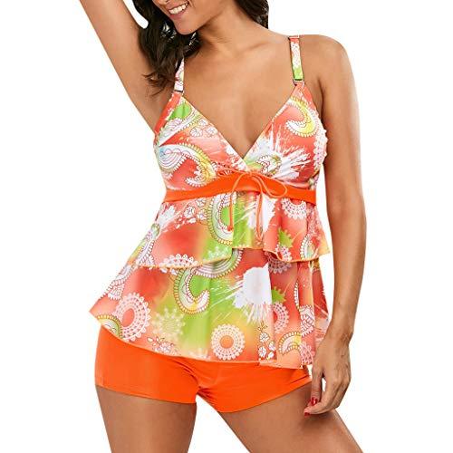 Bfmyxgs Damen Tankini Sets Mit Jungen Shorts Damen Bikini Set Bademode Push-Up Gepolsterter BH