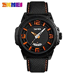 SKMei Watch Men Sport Wristwatches Quartz Analog Waterproof Clock Hour Auto Date - 9170 - Orange