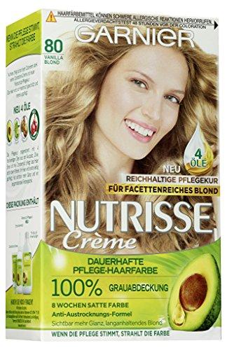 Garnier Nutrisse Creme Coloration Vanille Blond 80, Dauerhafte Haarfarbe mit 3 nährenden Ölen, 3er Pack (3 x 1 Stück)