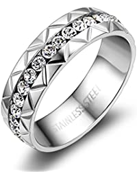 JewelryWe nuevas llegadas de la mujer clara de acero inoxidable blanco circonita anillo Eternity, compromiso boda banda 6 mm (con bolsa…