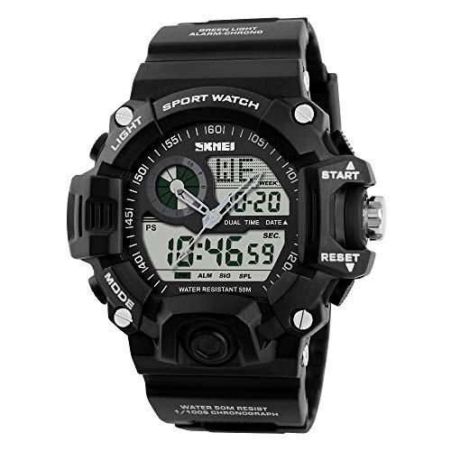 CQY Militärarmee Dual Time Outdoor Multi Funktion Uhren Elektronische Quarz Militär Wasserdicht Sport Männer Wasserdichte Digital,Black
