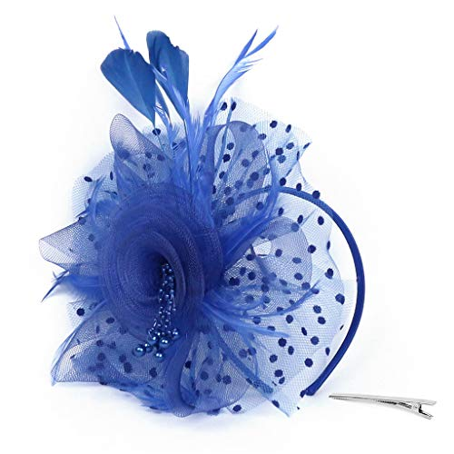 Meilily_Haarband Damen Elegant Fascinator Hut Braut Hair Clip Accessoires Cocktail Royal Ascot Flapper Great Gatsby Stirnband Pearl Charleston Party Cocktail Teeparty Braut Kopfschmuck (Für Ascots Männer)
