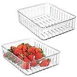 mDesign Set da 2 grandi contenitori alimenti - Pratico modello di contenitori in plastica per alimenti di ogni tipo - Contenitori frigo multiuso con aperture laterali - trasparente