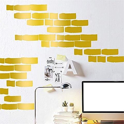 yanqiao 27pcs/Set Wohnzimmer Fashion Dekorieren, Hot verkaufen Cartoon Bricks Vinyl Abnehmbare Home Dekoration Wand Aufkleber & DIY Materialien, Weiß gold