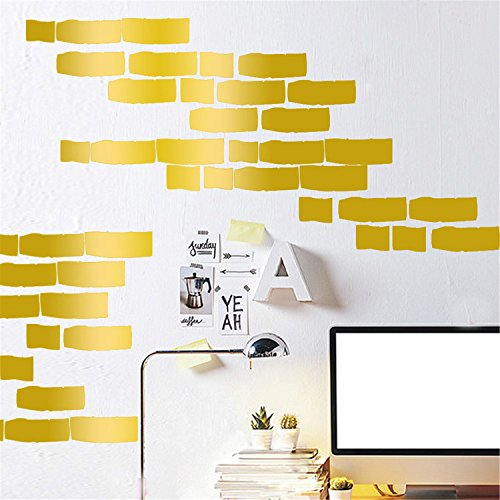 Preisvergleich Produktbild yanqiao 27pcs / Set Wohnzimmer Fashion Dekorieren,  Hot verkaufen Cartoon Bricks Vinyl Abnehmbare Home Dekoration Wand Aufkleber & DIY Materialien,  Weiß gold