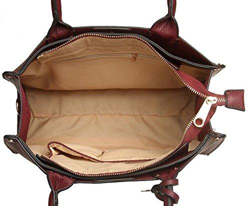 LeahWard® Damen Fashoin Essener Berühmtheit Schulter Handtasche Schnell verkaufend Qualität Kunstleder Tragetaschen mit Gurt CWS00233B CWS00420 WINE Tragetasche