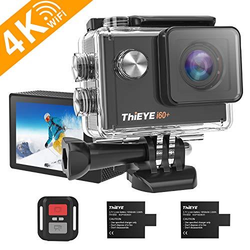 ThiEYE Action Cam 4K 30fps WiFi 20MP, 170 ° Weitwinkel Full HD, 2,0 \'\' LCD Hd-Bildschirmkamera, Videokamera 60M Wasserdicht Unter Wasser, 2.4G Fernbedienung, Zwei 1050mah Batterien