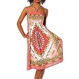 H112 Damen Sommer Aztec Bandeau Bunt Tuch Kleid Tuchkleid Strandkleid Neckholder, Farben:F-028 Orange;Größen:Einheitsgröße