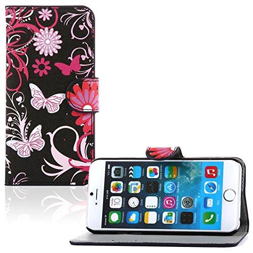 tinxi® PU Kunst Leder Tasche für Apple iPhone 6 plus/6s plus (5.5 zoll) Schutzhülle Tasche Flipcase Case Schale Hülle Cover Standfunktion mit Karten Slot lila Blume Schmetterling