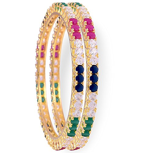 Ratnavali jewels American Diamond Gold Plated Traditional Bangle CZ Bangle Set Red Ruby Green Emerald Blue Sapphire Multi Color Bangles Set for Women RV1107  available at amazon for Rs.649