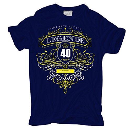 Männer und Herren T-Shirt Ein MYTHOS wird 40 Jahre alt Dunkelblau