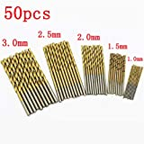 1/1,5/2/2,5/3mm Micro Juego de brocas, parkomm 50unidades Juego de brocas helicoidales, revestimiento de titanio acero rápido mini broca, ideal para madera, plástico, Acero y Aleaciones de aluminio