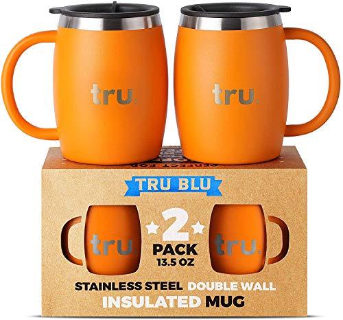 Tru Blu Steel Isolierte Kaffeetasse mit Deckel (2er Set) - Edelstahl Camping Tasse mit Henkel, Doppelwandiger Metall Becher - BPA-frei, Bruchsicher, Spülmaschinenfest (400 ml)