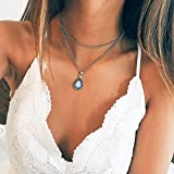 Kercisbeauty - Collar de plata con colgante de piedras preciosas azules para mujeres y niñas, regalo de cumpleaños, aniversario, fiesta, accesorios de playa, accesorios para festivales, adolescentes, niñas