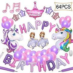 Idea Regalo - Yidaxing 64pcs Decorazioni per Feste Unicorno 2 Enorme Palloncino Unicorno Buon Compleanno Ballon Banner del Partito per l'infanzia Ragazza Festa di Compleanno della Signora Matrimonio (Rosa Viola)