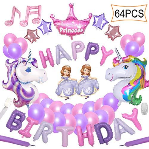 Yidaxing 64pcs Decorazioni per Feste Unicorno 2 Enorme Palloncino Unicorno Buon Compleanno Ballon Banner del Partito per l'infanzia Ragazza Festa di Compleanno della Signora Matrimonio (Rosa Viola)