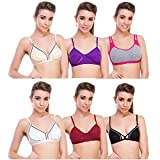 #9: New Care cotton mix Women Bra pack of 6 in Multicolor