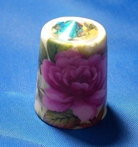Porzellan China zum Sammeln Fingerhut Pink Rose Chintz mit Cabochon Pink Chintz