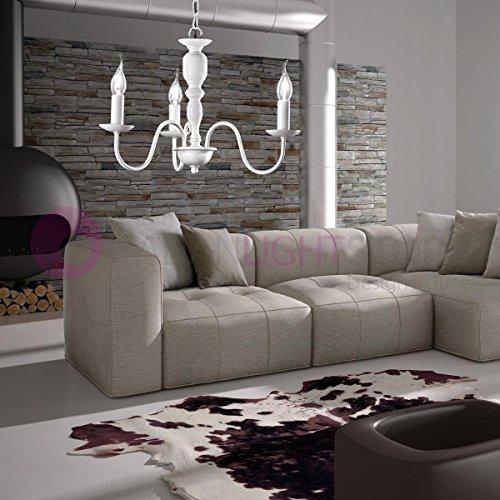 Fiammingo sospensione lampadario 3 luci bianco opaco d. 50 cm. 3xe14 stile provenzale classico rustico country chabby chic