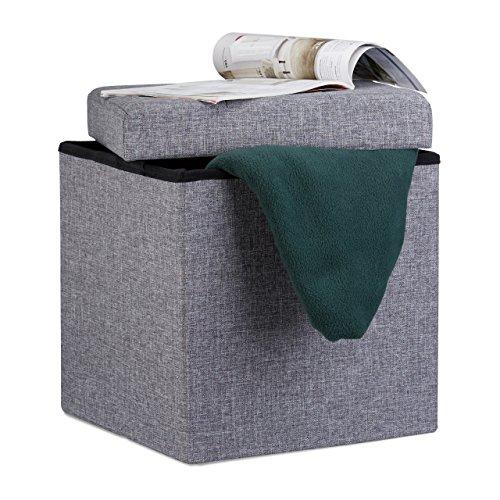 Dunkel Grau Leinen (Relaxdays Faltbarer Sitzhocker, 38 x 38 x 38 cm, Sitzcube als Fußablage, Sitzwürfel aus Leinen, Deckel zum Abnehmen, dunkelgrau)
